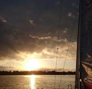zachód słońca obóz żeglarski 2017