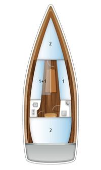 jacht Antila 27 rozkład pokładu