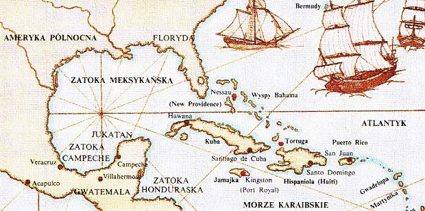 mapa morze karaibskie