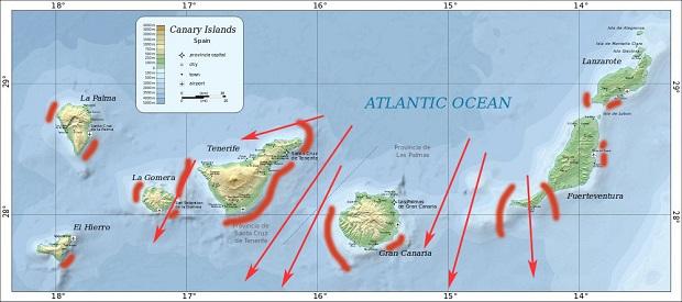 mapa wyspy kanaryjskie