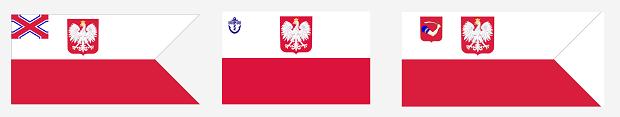 """Od lewej: współczesna bandera Yacht Klubu Polski, Polskiego Związku Żeglarskiego oraz Yacht Klubu Morskiego """"Kotwica""""."""