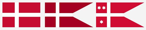 Od lewej: Flaga Danii, bandera Królewskiej Duńskiej Marynarki Wojennej (Kongelige Danske Marine); bandera wiceadmirała.