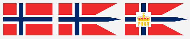 Od lewej: Flaga Norwegii, bandera Norweskiej Królewskiej Marynarki Wojennej (Sjøforsvaret); bandera Poczty Norweskiej (Posten Norge).