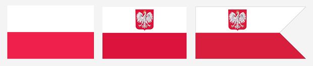 Od lewej: Flaga Polski, bandera statków Polskiej Marynarki Handlowej, bandera Polskiej Marynarki Wojennej.