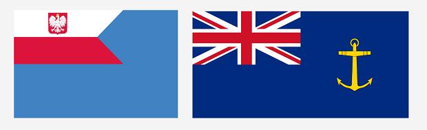 Od lewej: bandera pomocniczych jednostek pływających Polskiej Marynarki Wojennej, bandera pomocniczych jednostek pływających Królewskiej Marynarki Wojennej (Royal Fleet Auxiliary).